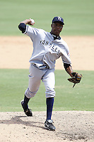 July 12, 2009:  Pitcher Noel Castillo of the Tampa Yankees during a game at Dunedin Stadium in Dunedin, FL.  Tampa is the Florida State League High-A affiliate of the New York Yankees.  Photo By Mike Janes/Four Seam Images