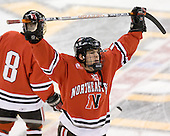 Dennis McCauley (NU - 12) - The Northeastern University Huskies defeated the Harvard University Crimson 3-1 in the Beanpot consolation game on Monday, February 12, 2007, at TD Banknorth Garden in Boston, Massachusetts.