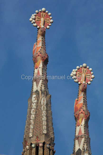 Ceramic pinnacles of the bell towers, Passion facade, La Sagrada Familia, Antoni Gaudi, from 1883 to his death in 1926, still incomplete, Barcelona, Spain. Picture by Manuel Cohen