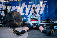 Anne-Sophie Duyck (BEL) post-finish<br /> <br /> WOMEN ELITE INDIVIDUAL TIME TRIAL<br /> Hall-Wattens to Innsbruck: 27.8 km<br /> <br /> UCI 2018 Road World Championships<br /> Innsbruck - Tirol / Austria