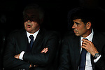 Real Madrid´s coach Carlo Ancelotti and second coach Fernando Hierro during the Champions League semi final soccer match between Real Madrid and Juventus at Santiago Bernabeu stadium in Madrid, Spain. May 13, 2015. (ALTERPHOTOS/Victor Blanco)