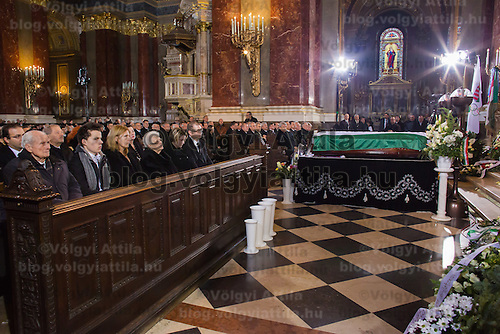 Coffin of late soccer player Jeno Buzanszky during his funeral in Budapest, Hungary on January 30, 2015. ATTILA VOLGYI