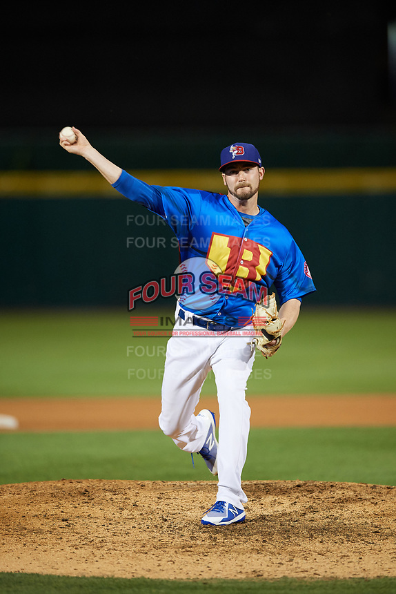 Buffalo Bisons relief pitcher Chris Smith (33) delivers a warmup pitch during a game against the Gwinnett Braves on August 19, 2017 at Coca-Cola Field in Buffalo, New York.  The Bisons wore special Superhero jerseys for Superhero Night.  Gwinnett defeated Buffalo 1-0.  (Mike Janes/Four Seam Images)
