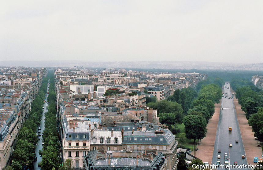 Paris: From the arc--paroramic view of tree-lined boulevards. Photo '87.