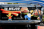 Montevideo, Uruguay - A Food cart sign with Bart and Homer Simpson