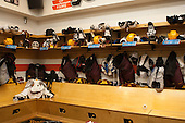 Minnesota's dressing room. - The University of Minnesota Golden Gophers took part in a press conference and practice on Friday, April 11, 2014, during the 2014 Frozen Four at the Wells Fargo Center in Philadelphia, Pennsylvania.