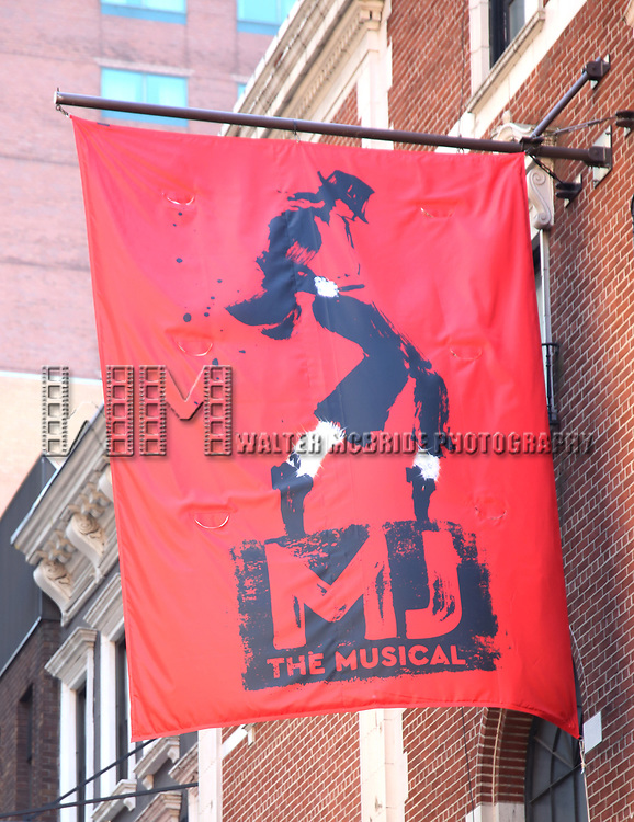 "Theatre Marquee unveiling  for  ""MJ The Musical"" starring Ephraim Sykes at the Neil simon Theatre on January 24, 2020 in New York City."