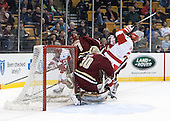 Evan Rodrigues (BU - 17), Isaac MacLeod (BC - 7), Thatcher Demko (BC - 30), Ahti Oksanen (BU - 2) - The Boston College Eagles defeated the Boston University Terriers 3-1 (EN) in their opening round game of the 2014 Beanpot on Monday, February 3, 2014, at TD Garden in Boston, Massachusetts.