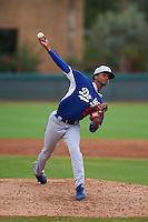 Los Angeles Dodgers pitcher Chris Powell (57) during an instructional league game against the Cincinnati Reds on October 20, 2015 at Cameblack Ranch in Glendale, Arizona.  (Mike Janes/Four Seam Images)