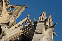 Gargoyles, towers, flying buttresses, transept, Church of Notre Dame, 12th - 14th century, Mantes-la-Jolie, Yvelines, France Picture by Manuel Cohen