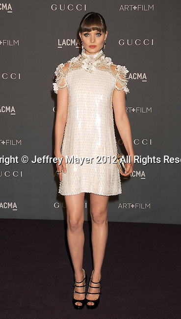 LOS ANGELES, CA - OCTOBER 27: Bella Heathcote arrives at LACMA Art + Film Gala at LACMA on October 27, 2012 in Los Angeles, California.