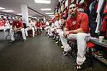 VIERA, FL-  FEBRUARY 26:  Wilson Ramos of the Washington Nationals tunes into Matt Williams team meeting during the Washington Nationals Spring Training at Space Coast Stadium in Viera, FL (Photo by Donald Miralle) *** Local Caption ***