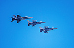 8 July 2014: Three Vermont Air National Guard F-16 Fighter Jets fly overhead during a minor league baseball game between the Lowell Spinners and the Vermont Lake Monsters at Centennial Field in Burlington, Vermont. The Lake Monsters rallied in the 9th inning to defeat the Spinners 5-4 in NY Penn League action. Mandatory Credit: Ed Wolfstein Photo *** RAW Image File Available ****
