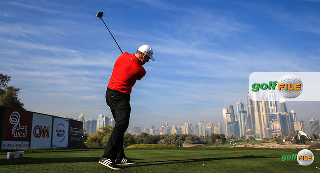 Stephen Gallacher (SCO) from the 8th tee during the Pro-Am at the 2016 Omega Dubai Desert Classic, played on the Emirates Golf Club, Dubai, United Arab Emirates.  03/02/2016. Picture: Golffile | David Lloyd<br /> <br /> All photos usage must carry mandatory copyright credit (&copy; Golffile | David Lloyd)