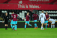 Pictured: Dan Kemp of West Ham United celebrates scoring his side's third goal during the Premier League 2 match between Swansea City and West Ham United at the Liberty Stadium, Swansea, Wales, UK <br /> Monday 11 March 2019