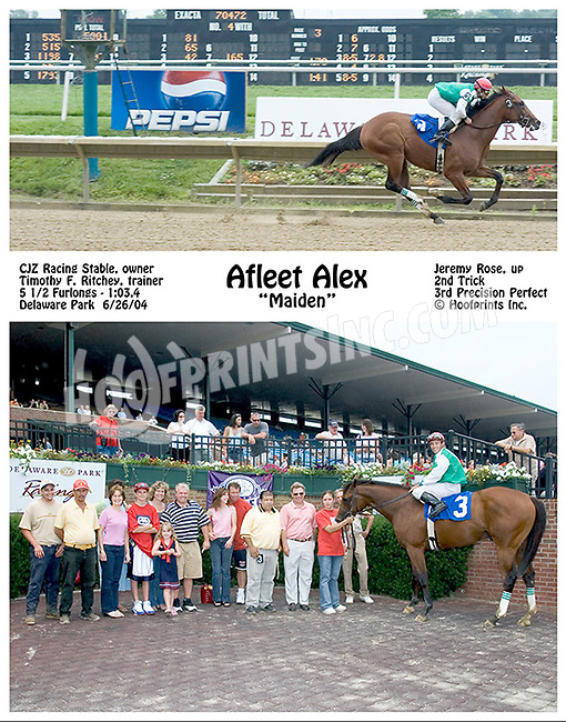Afleet Alex winning his first time out at Delaware Park on 6/26/04
