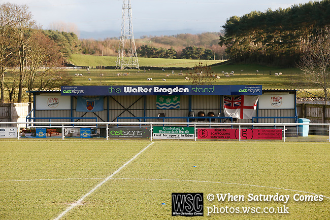 The Walter Brigden Stand. Penrith AFC V Hebburn Town, Northern League Division One, 22nd December 2018. Penrith are the only Cumbrian team in the Northern League. All the other teams are based across the Pennines in the north east.<br /> Penrith, winless at kick off, lost a thriller 3-4, in front of 100 people. They won five games all season, but were reprieved from relegation following Blyth's resignation from the league.