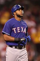 Texas Rangers shortstop Elvis Andrus #1 during a game against the Los Angeles Angels at Angel Stadium on September 27, 2011 in Anaheim,California. Texas defeated Los Angeles 10-3.(Larry Goren/Four Seam Images)