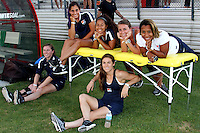 Piscataway, NJ - Wednesday Sept. 07, 2016: Danielle Schulmann, Domi Richardson, Theresa Diederich, Rachel Breton, Catherine Zimmerman, Kelley O'Hara prior to a regular season National Women's Soccer League (NWSL) match between Sky Blue FC and the Orlando Pride FC at Yurcak Field.