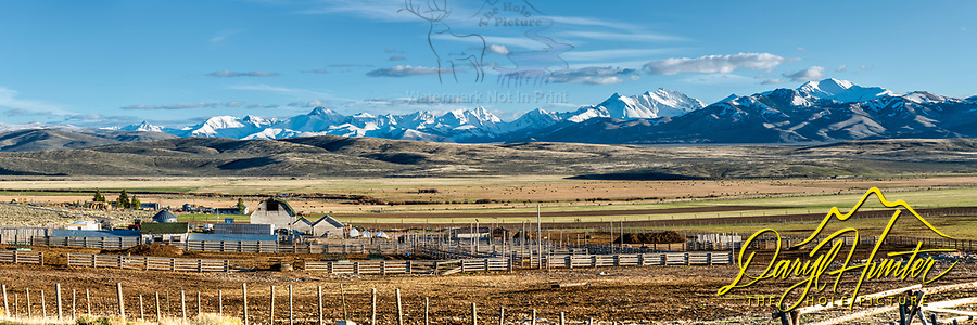 A little piece of Heaven, this cattle ranch is on the Little Lost River Highway west of Howe Idaho, the lost river range rises on the horizon. <br />