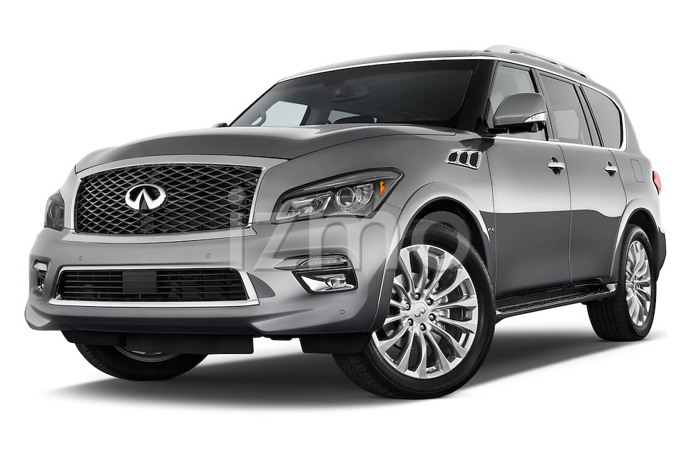 Stock pictures of low aggressive front three quarter view of a 2015 Infiniti QX80 3.5 5 Door SUV Low Aggressive