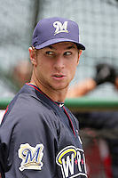 Brett Lawrie of the Milwaukee Brewers organization participates in the Futures Game at Angel Stadium in Anaheim,California on July 11, 2010. Photo by Larry Goren/Four Seam Images