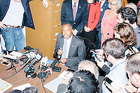Republican presidential candidate Dr. Ben Carson speaks with the media after officially filing his presidential candidacy in the New Hampshire State House in Concord, New Hampshire.
