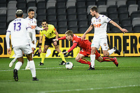 30th July 2020; Bankwest Stadium, Parramatta, New South Wales, Australia; A League Football, Adelaide United versus Perth Glory; Jacob Tratt of Perth Glory fouls Ben Halloran of Adelaide United in the box and concedes a penalty kick
