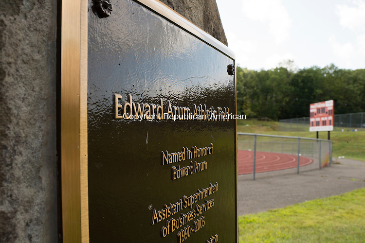 SOUTHBURY, CT- 19 August 2015-081915EC10-  Pomperaug's football stadium has a rock with an inscription named after Edward Arum, behind it is the scoreboard, also named after the businessman. Erin Covey Republican-American