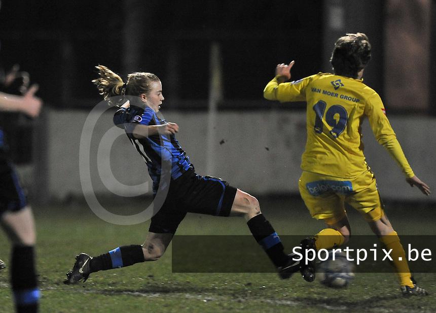 Club Brugge Dames - WB Sinaai Girls : Yana Haezebroek scoort de 1-0 voor Brugge.foto DAVID CATRY / Vrouwenteam.be