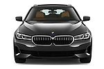 Car photography straight front view of a 2021 BMW 5-Series Luxury 5 Door Wagon Front View
