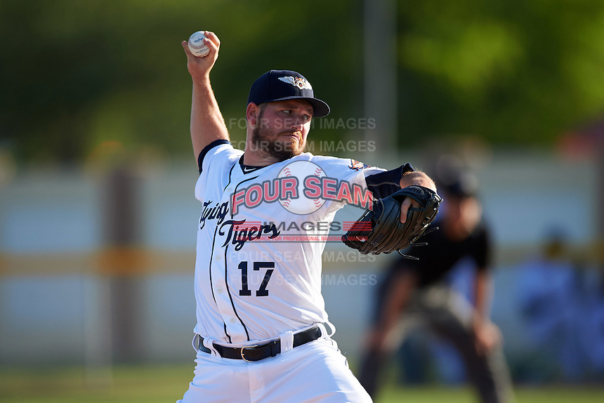 Lakeland Flying Tigers starting pitcher Alex Wilson (17), on rehab assignment from the Detroit Tigers, delivers a pitch during a game against the Tampa Yankees on April 7, 2016 at Henley Field in Lakeland, Florida.  Tampa defeated Lakeland 9-2.  (Mike Janes/Four Seam Images)