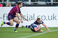 Chris Cook of Bath United runs in a try. Remembrance Rugby match, between Bath United and the UK Armed Forces on May 10, 2017 at the Recreation Ground in Bath, England. Photo by: Patrick Khachfe / Onside Images