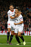Wissam Ben Yedder of Sevilla (r) celebrates scoring the first goal with Jesus Navas of Sevilla during the Champions League Group E match at the Anfield Stadium, Liverpool. Picture date 13th September 2017. Picture credit should read: Simon Bellis/Sportimage