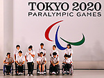 Paralympic athletes, JULY 24, 2015 : The Tokyo Organising Committee of the Olympic and Paralympic Games unveils the official emblem for the 2020 Tokyo Olympic and Paralympic Games at the forecourt of the Tokyo Metropolitan Assembly building in Tokyo, Japan, This event took place five-year before the Tokyo 2020 Olympics. (Photo by Sho Tamura/AFLO SPORT)