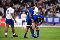 9th February 20020, Stade de France, Paris, France; 6-Nations international mens rugby union, France versus Italy;  Marco Riccioni  18 and Braam Steyn  8 of Italy look dejected as they lose to France