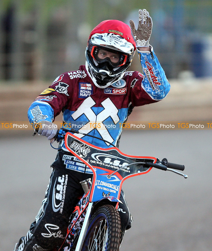 Davey Watt of Lakeside Hammers salutes the fans - Lakeside Hammers vs Peterborough Panthers, Elite League Speedway at the Arena Essex Raceway, Pufleet - 11/05/12 - MANDATORY CREDIT: Rob Newell/TGSPHOTO - Self billing applies where appropriate - 0845 094 6026 - contact@tgsphoto.co.uk - NO UNPAID USE..