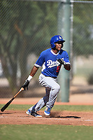 Los Angeles Dodgers outfielder Deivy Castillo (59) during an Instructional League game against the Cincinnati Reds on October 11, 2014 at Goodyear Training Complex in Goodyear, Arizona.  (Mike Janes/Four Seam Images)