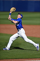 Indiana State Sycamores first baseman Jeff Zahn (35) catches a pop up during a game against the Vanderbilt Commodores on February 21, 2015 at Charlotte Sports Park in Port Charlotte, Florida.  Indiana State defeated Vanderbilt 8-1.  (Mike Janes/Four Seam Images)