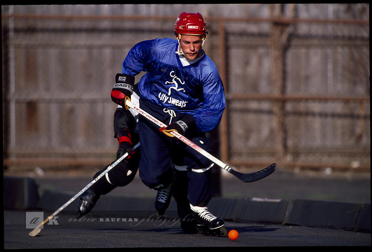 In the Irving Park area of Chicago locals play a weekly pickup game of roller hockey. Teams are sponsored by sporting goods stores in the city. In the summer the weather is good enough to play outdoors.