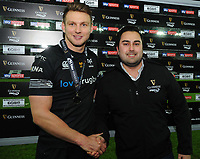 Ospreys' Dan Biggar is presented with the man of the match award by Sam Harries<br /> <br /> Photographer Kevin Barnes/CameraSport<br /> <br /> Guinness Pro14 Round 13 - Ospreys v Cardiff Blues - Saturday 6th January 2018 - Liberty Stadium - Swansea<br /> <br /> World Copyright &copy; 2018 CameraSport. All rights reserved. 43 Linden Ave. Countesthorpe. Leicester. England. LE8 5PG - Tel: +44 (0) 116 277 4147 - admin@camerasport.com - www.camerasport.com