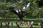 School kids playing in the  Botanical Gardens in Kingston