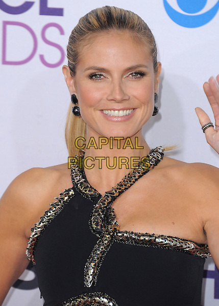 Heidi Klum.The 2013 People's Choice Awards held at Nokia Live in Los Angeles, California 9th January 2013                                                                   .headshot portrait black silver gold trim cut out away .CAP/DVS.©DVS/Capital Pictures.