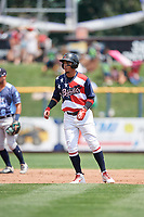 Quad Cities River Bandits second baseman Miguelangel Sierra (4) leads off second base during a game against the West Michigan Whitecaps on July 23, 2018 at Modern Woodmen Park in Davenport, Iowa.  Quad Cities defeated West Michigan 7-4.  (Mike Janes/Four Seam Images)