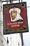 Pub sign Saracens Head, Bath, England