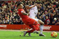 Nathaniel Clyne competes with Neil Taylor during the Barclays Premier League Match between Liverpool and Swansea City played at Anfield, Liverpool on 29th November 2015