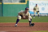 Western Carolina Catamounts third baseman Justice Bigbie (7) on defense against the Saint Joseph's Hawks at TicketReturn.com Field at Pelicans Ballpark on February 23, 2020 in Myrtle Beach, South Carolina. The Hawks defeated the Catamounts 9-2. (Brian Westerholt/Four Seam Images)