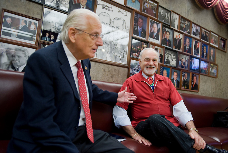 UNITED STATES - DECEMBER 01:  Joe Quattrone, right, who has been cutting hair on the Capitol complex for 40 years, is interviewed with longtime friend and patron Rep. Bill Pascrell, D-N.J., in his Rayburn shop.  (Photo By Tom Williams/Roll Call)