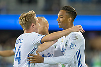 San Jose, CA - Wednesday September 19, 2018: Danny Hoesen, Jackson Yueill during a Major League Soccer (MLS) match between the San Jose Earthquakes and Atlanta United FC at Avaya Stadium.