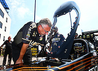 Sep 5, 2016; Clermont, IN, USA; Mike Green , crew chief for NHRA top fuel driver Tony Schumacher during the US Nationals at Lucas Oil Raceway. Mandatory Credit: Mark J. Rebilas-USA TODAY Sports